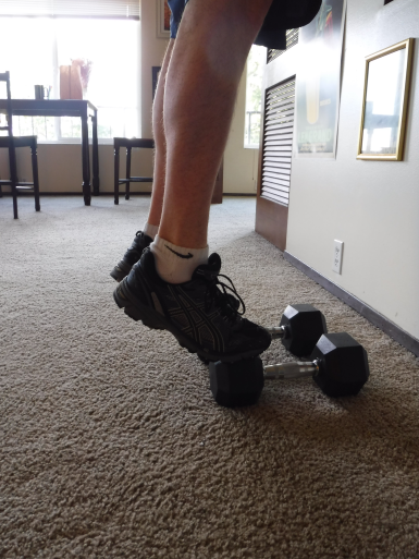 Patient uses weights as a substitute for stairs