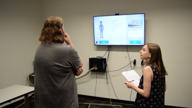Participant provides feedback during Kinect on-boarding process